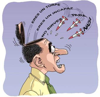 Persona con pensamientos negativos representados como amenazas