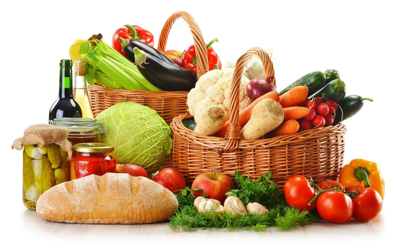 Cesta de comida para una alimentación saludable