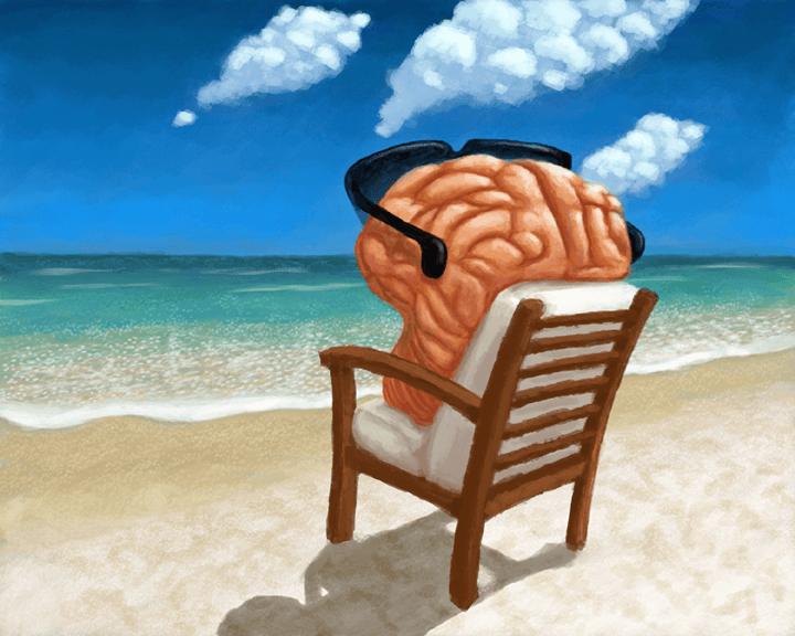 Viajar es bueno para este cerebro que esta relajado tomando el sol