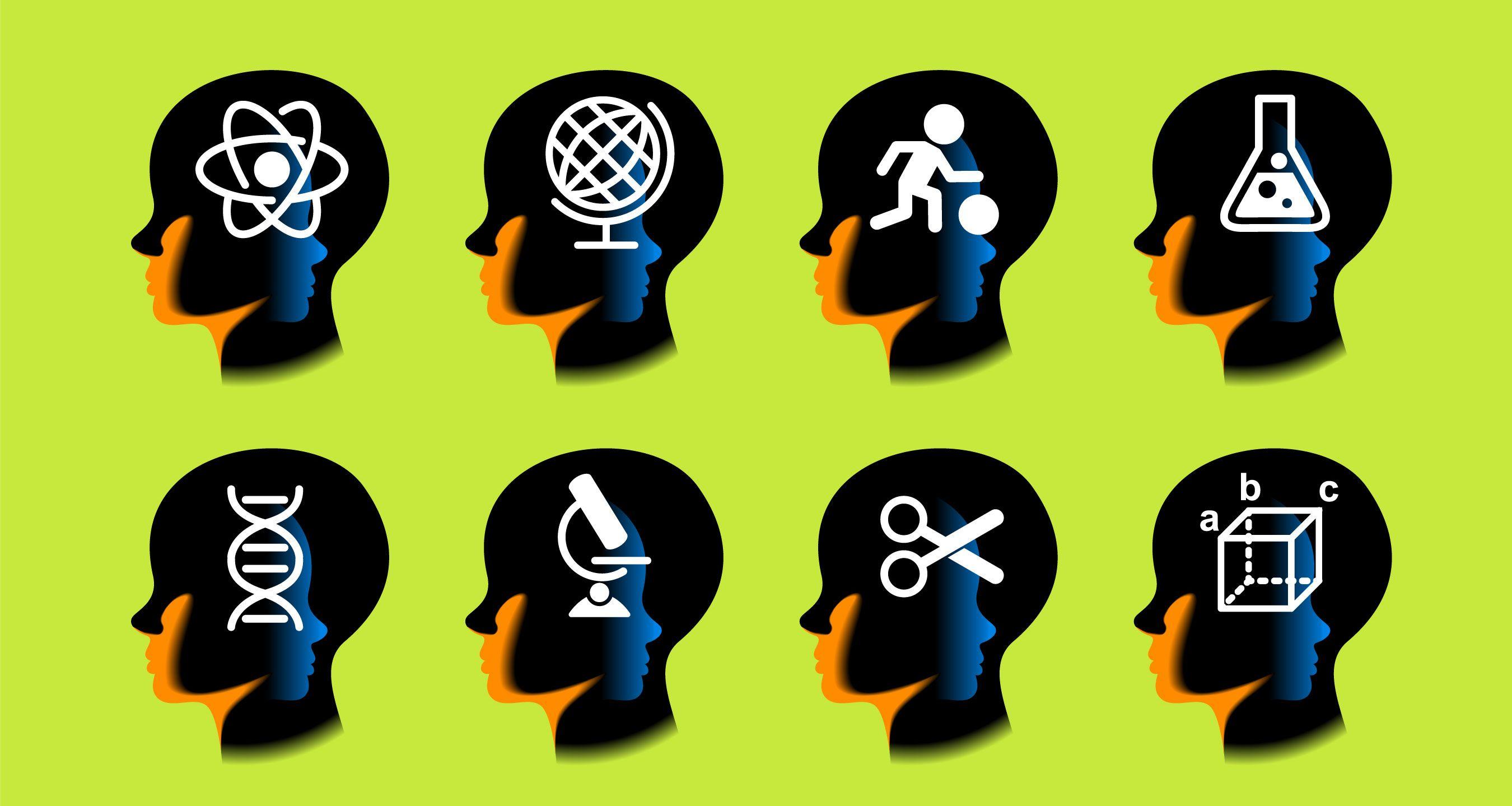 Ocho cerebros con diferentes ideas