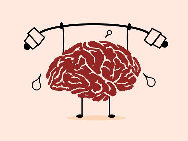 Cerebro trabajando levantando una pesa gracias a la ayuda de un psicólogo