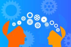 Dos personas intercambiando información con asertividad
